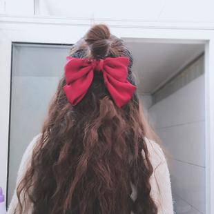 大蝴蝶结发夹jk日系红色蝴蝶结发绳lolita头饰后脑勺发卡头绳夹子