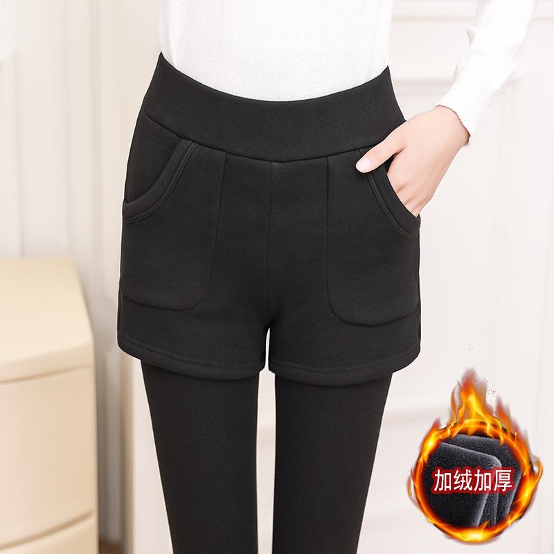 假两件打底裤女外穿秋冬季加绒加厚2018新款短裤踩脚保暖棉裤大码