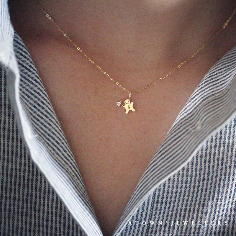 S925 silver plated 14K Gold Necklace lovely Gingerbread Man fairy tale style simple versatile clavicle Necklace