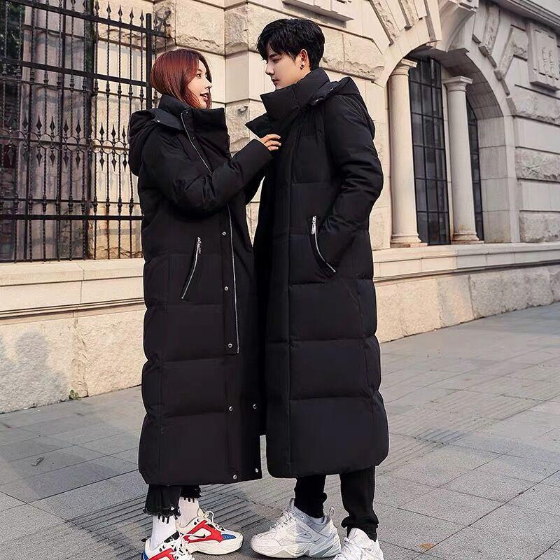 大衣中长款羽绒服男装2019新款潮牌情侣装过膝加厚男士款冬季外套