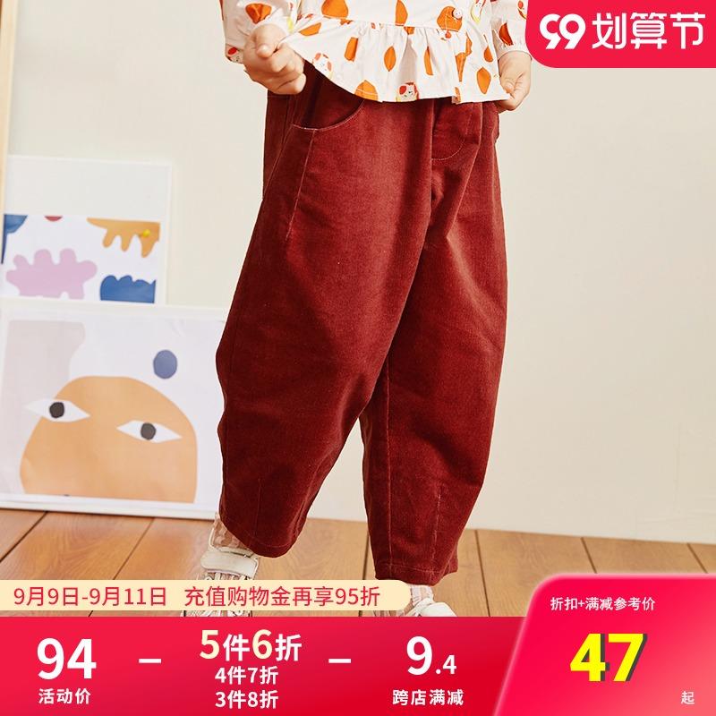 丸社复古春秋纯棉男女童灯芯绒裤子