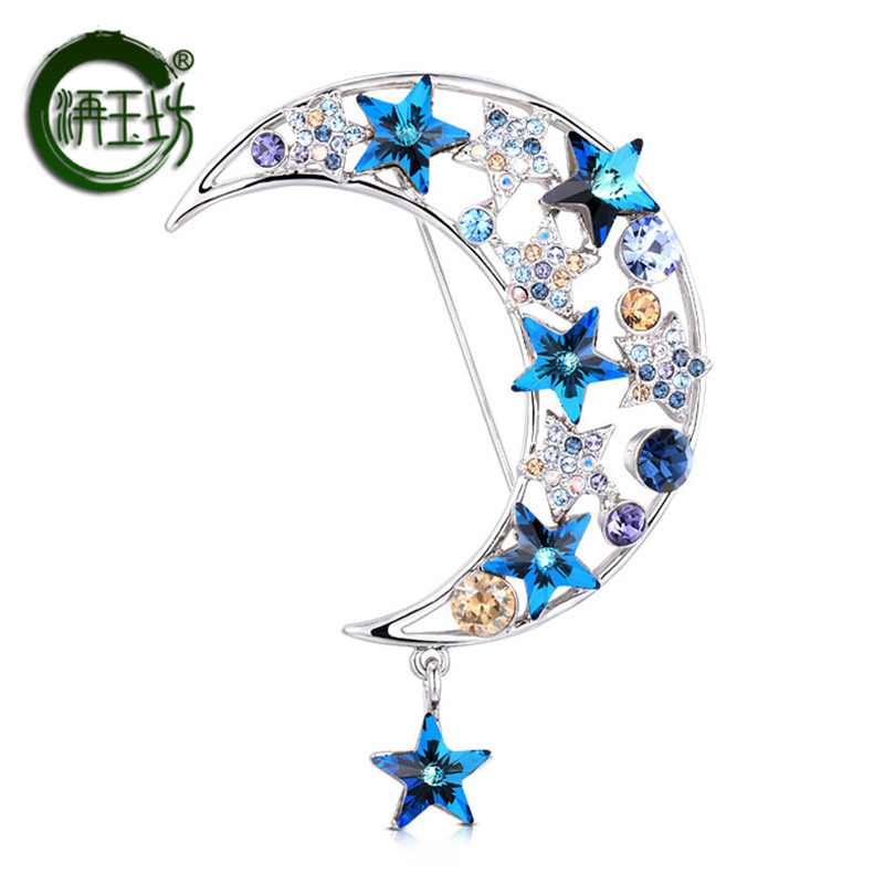 Jade square new fashion crystal female Brooch personality moon pin star Brooch plated 18K platinum accessories