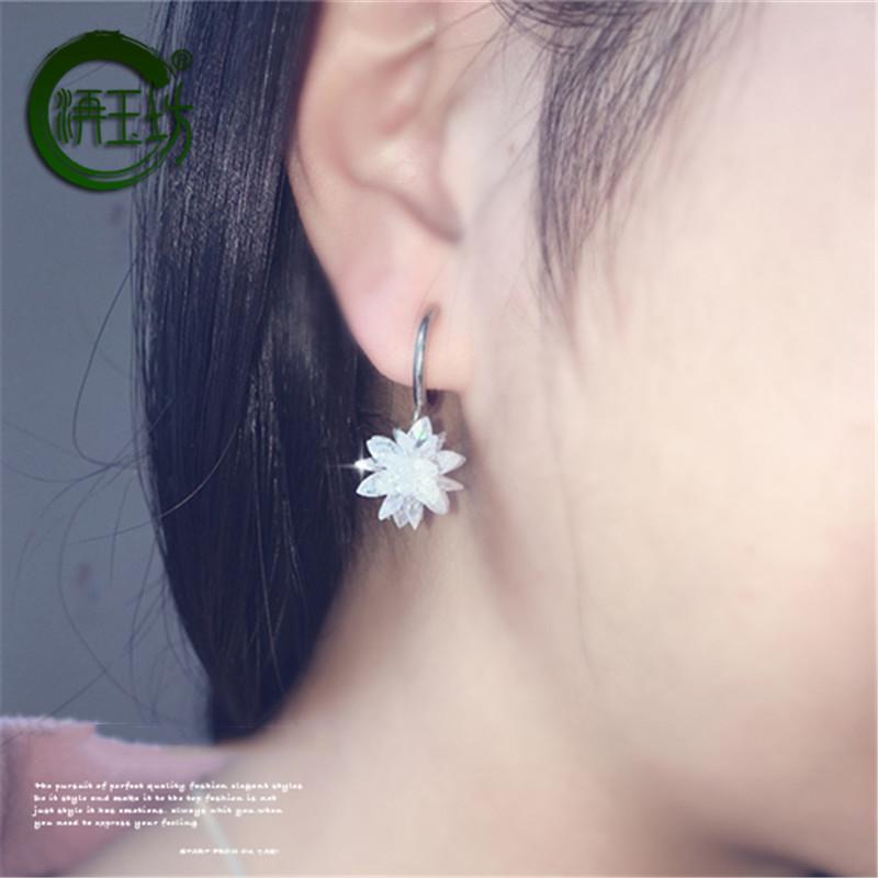 洅玉坊925银针不对称冰晶雪花耳钉螺丝耳夹耳环耳饰耳坠气质韩版