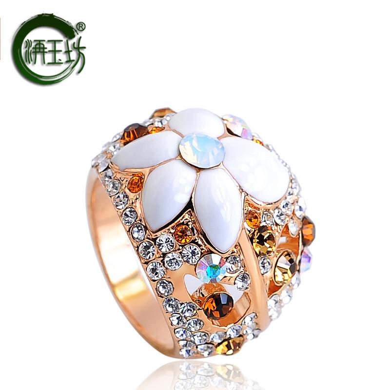 洅玉坊精美镂空花戒指 指环 女 韩版潮人 玫瑰金送女友情人节礼物