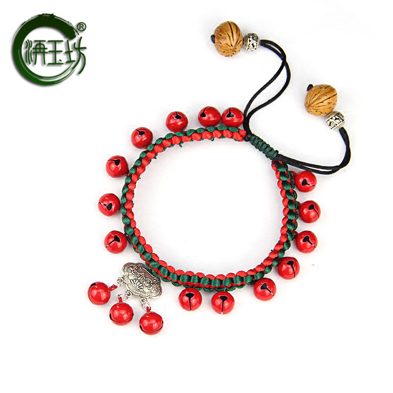 Yufang red rope bell Anklet wealth and peace Ruyi lock Anklet hand woven national style foot chain adjustable