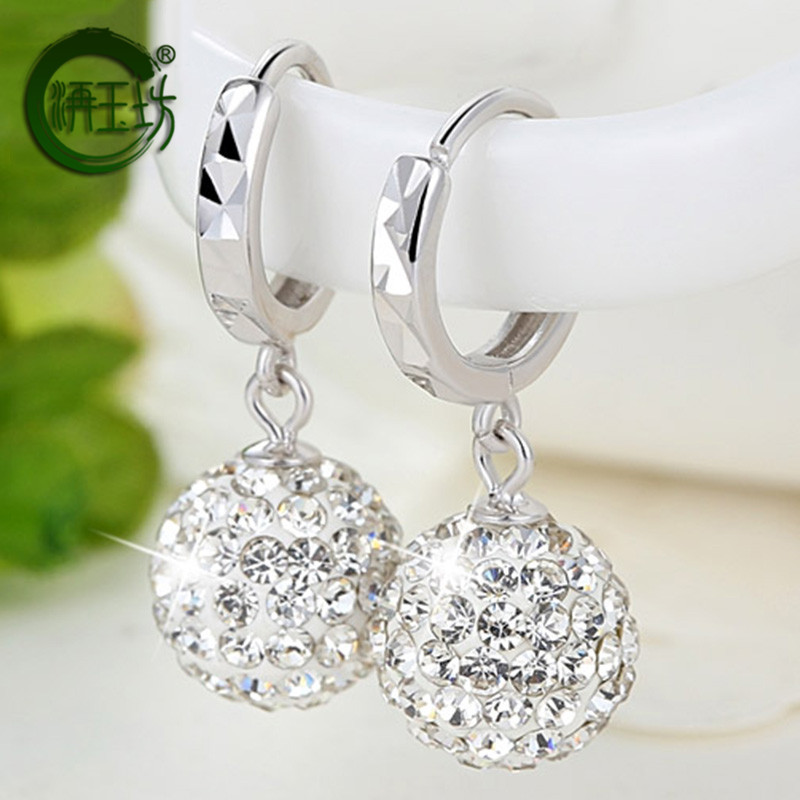 Yufang Qixi Gift Silver Round Earrings with synthetic crystal earrings
