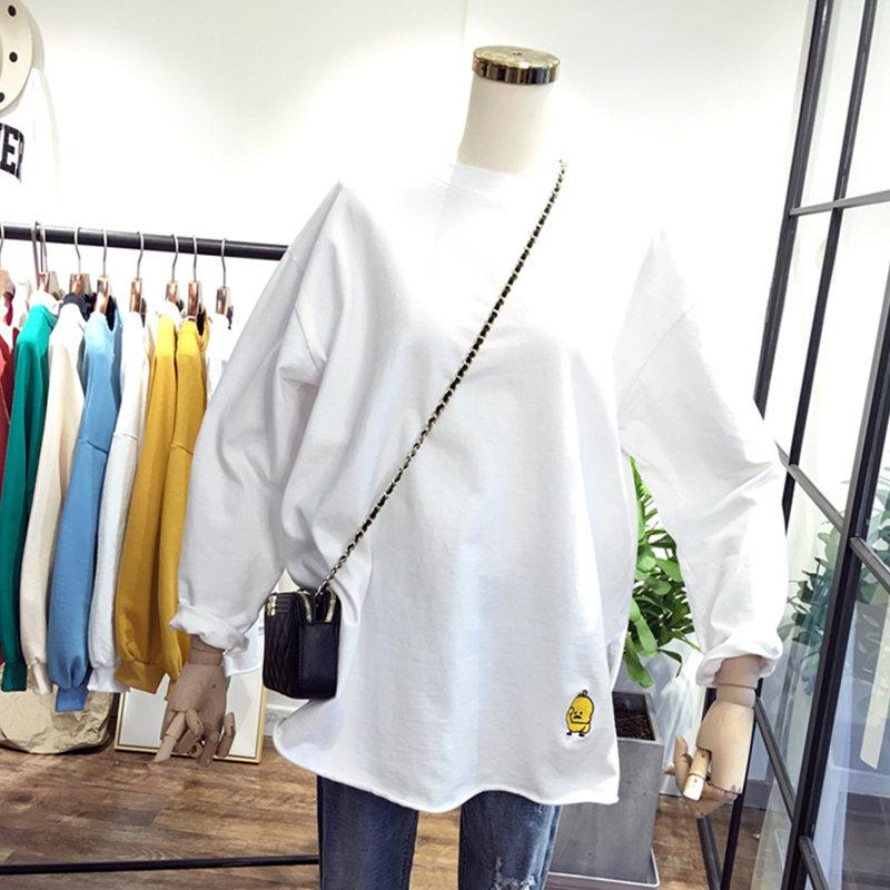 超火cec白色t恤女长袖纯色打底衫