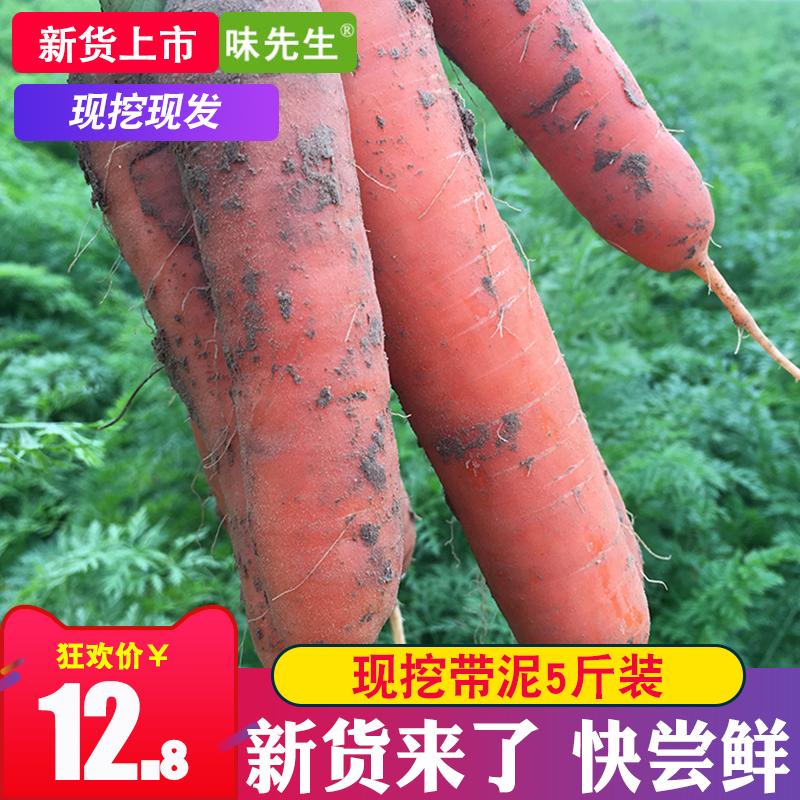 2018年新鲜现挖红胡萝卜带泥农家自种蔬菜水果宝宝辅食5斤包邮批