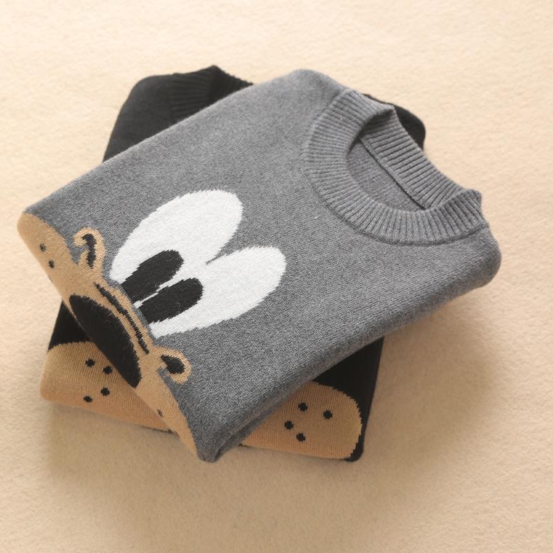 秋冬新款儿童毛衣男童圆领条纹加厚中大童卡通图案羊绒衫撞色