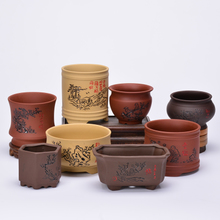 Purple sand coarse ceramic flowerpot meaty calamus potted bamboo hand color Yixing thumb small creative indoor clearance specials