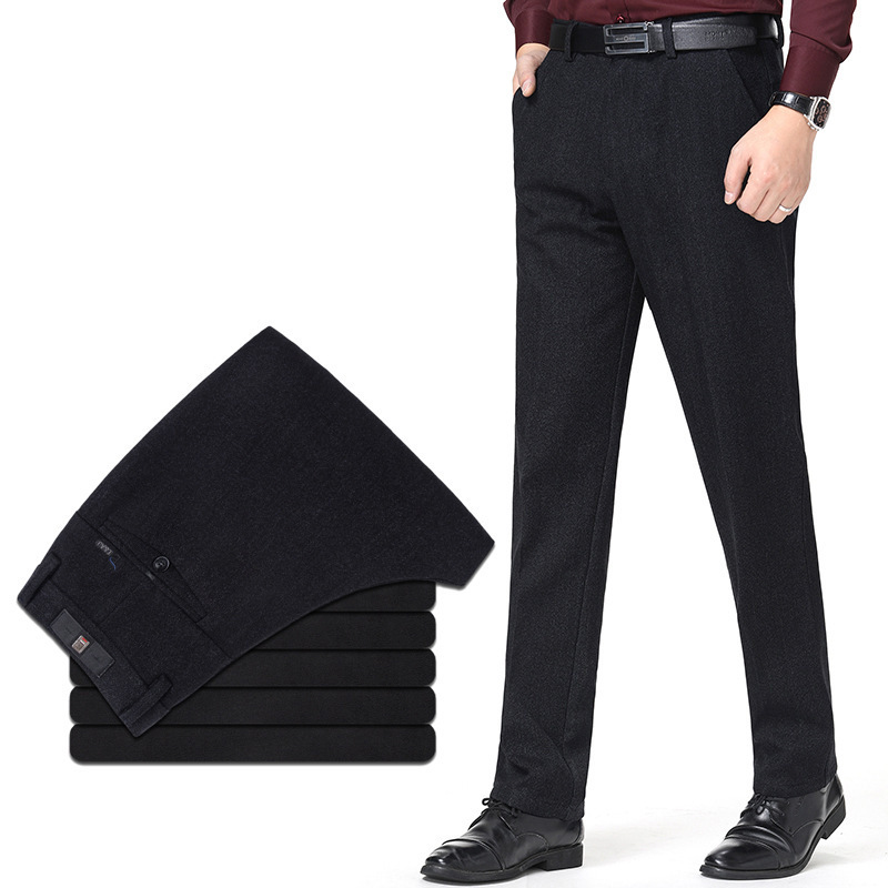 New winter brand mens casual pants business fashion middle waist versatile Plush thickened mens long pants