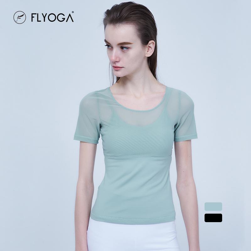 FLYOGA芙莱尔专业瑜伽服女带胸垫短袖显瘦透气网纱健身上衣F79319,可领取50元天猫优惠券