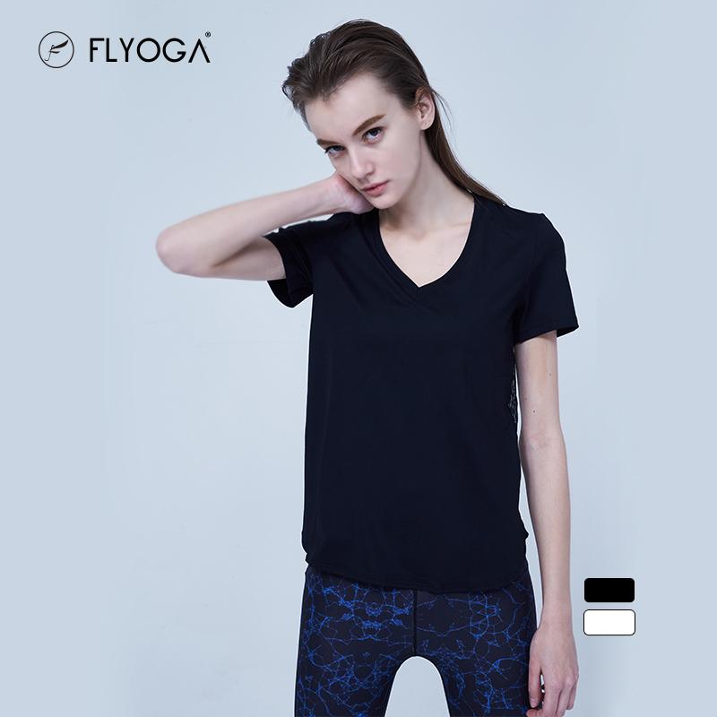 FLYOGA春季新款瑜伽服女时尚宽松透气运动健身T恤上衣,可领取40元天猫优惠券