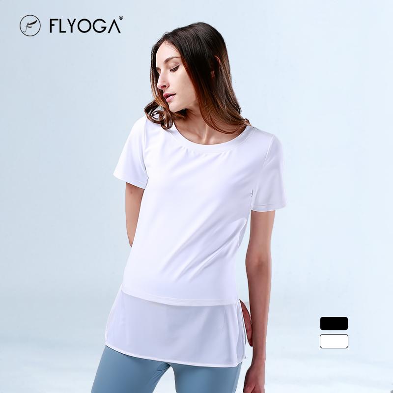 FLYOGA芙莱尔专业瑜伽服女短袖宽松外搭夏健身运动速干套衫上衣,可领取40元天猫优惠券