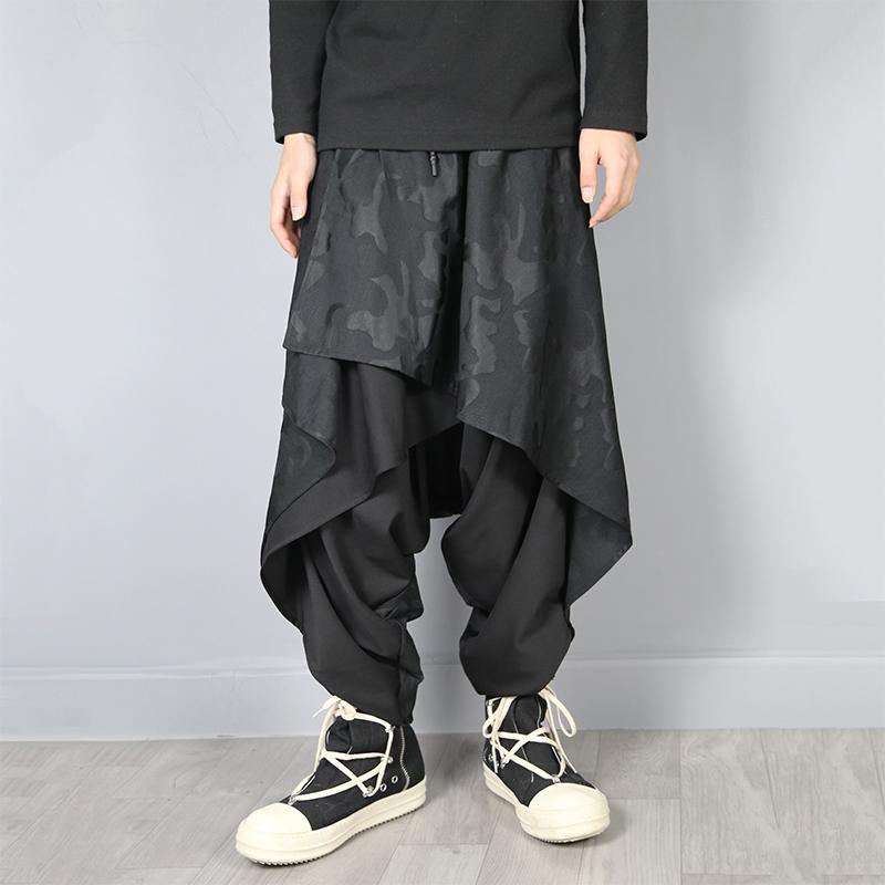 Original Diablo Yamamoto style skirt cross pants Harlan fashion mens alternative personality hairstylist clothing big crotch pants