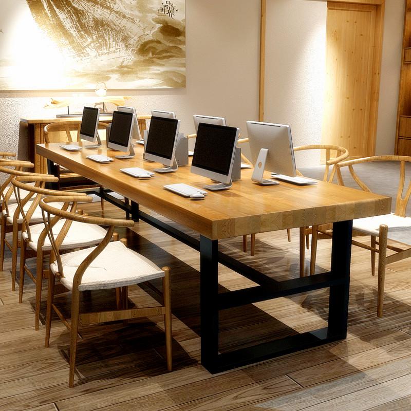 Простой сейчас поколение Твердое дерево совещание стол офис компьютер стол стол переговоров большой винтаж Настольный длинный стол Dinette