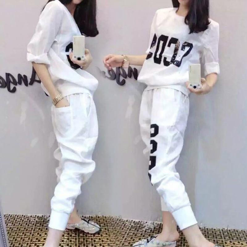 歐洲站2018春夏新款五分袖運動套裝女潮學生少女運動服跑步兩件套