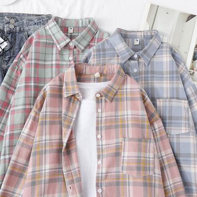 格子衬衫女装轻熟上衣女2020新款潮流设计感小众外套春秋长袖韩版