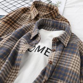 格子衬衫女2020秋季毛呢外套外穿复古港味韩版宽松加厚磨毛上衣冬