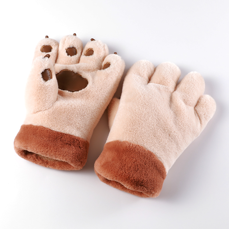 Fashion bear claw cute soft rabbit hair thickened warm Plush Cycling Gloves Winter Korean neck hanging men and women