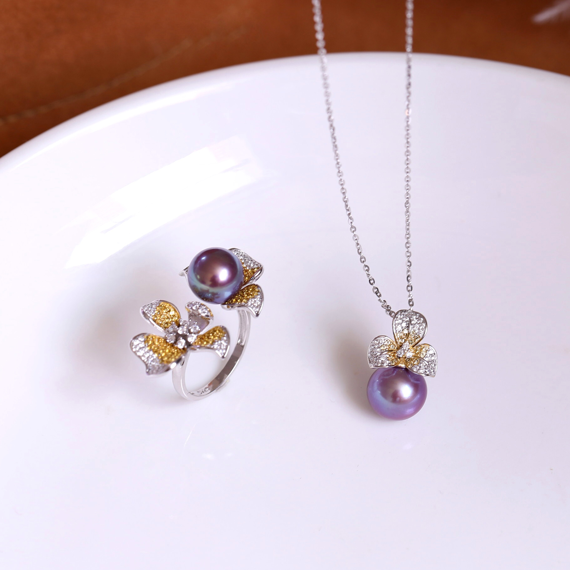 S925 pure silver yellow flower zircon series accessories ring pendant womens semi-finished product does not contain pearl empty holder