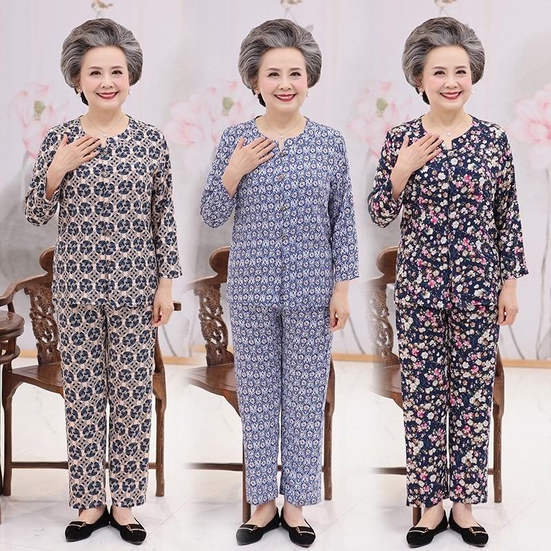 老年人夏装女 60-70岁中年女装奶奶装夏季长袖棉绸套装老太太衣服(非品牌)