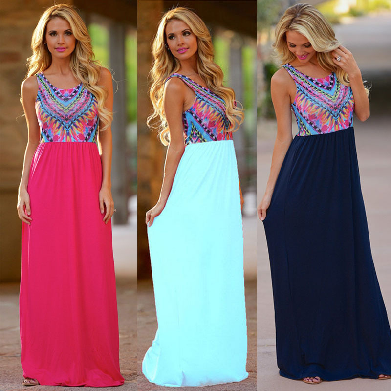 2015 express eBay Europe and the United States color printing sleeveless round neck long skirt swing skirt vest dress