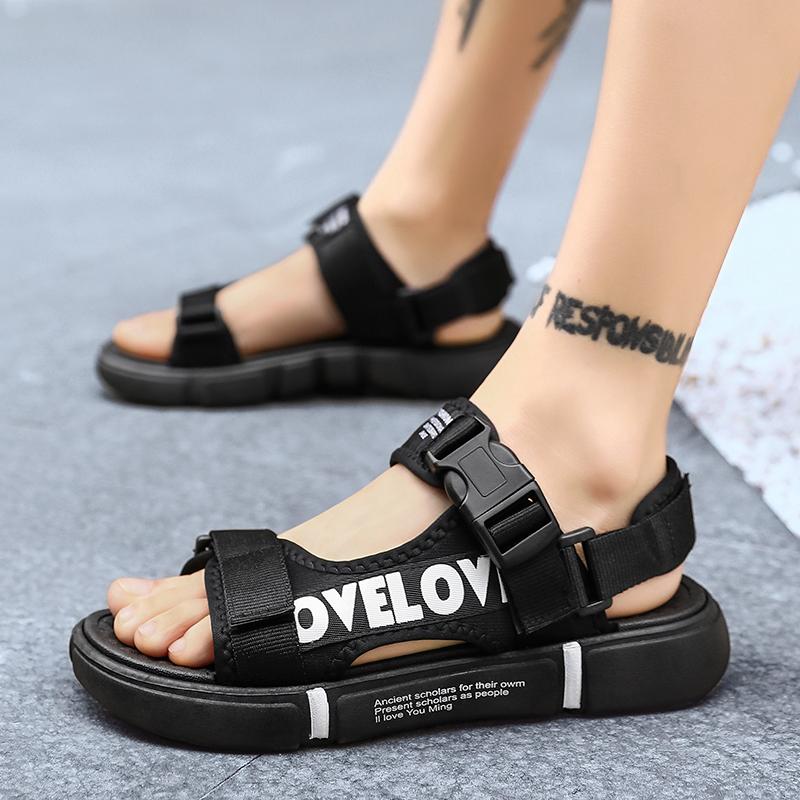 新款拖鞋凉鞋两穿魔术贴轻质底沙滩罗马男鞋XZ103D-1-W925-P28