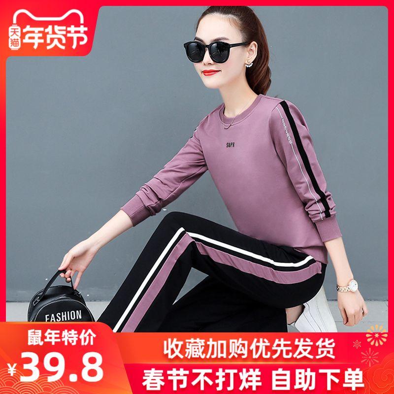 运动服套装女2019春装新款韩版宽松时尚女装长袖卫衣休闲两件套潮