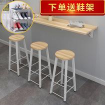 包邮简约现代吧台桌家用靠墙折叠壁挂餐厅家用客厅桌椅组合定做
