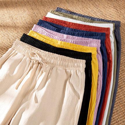 黑色直筒裤女夏季薄款九分图片