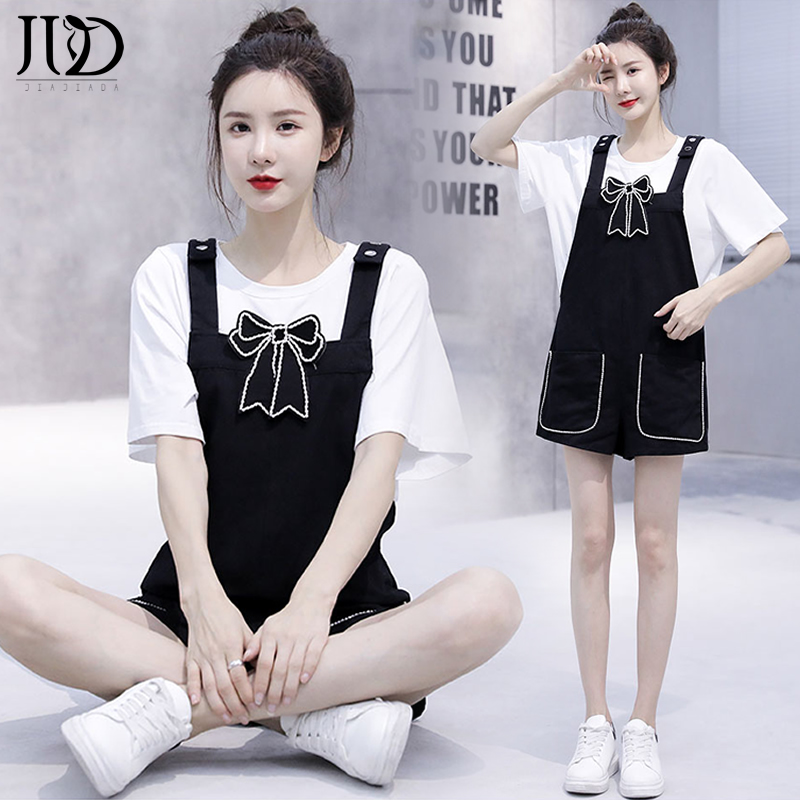 2021夏季新款韩版时尚减龄黑色背带短裤+烫钻蝴蝶结上衣两件套女