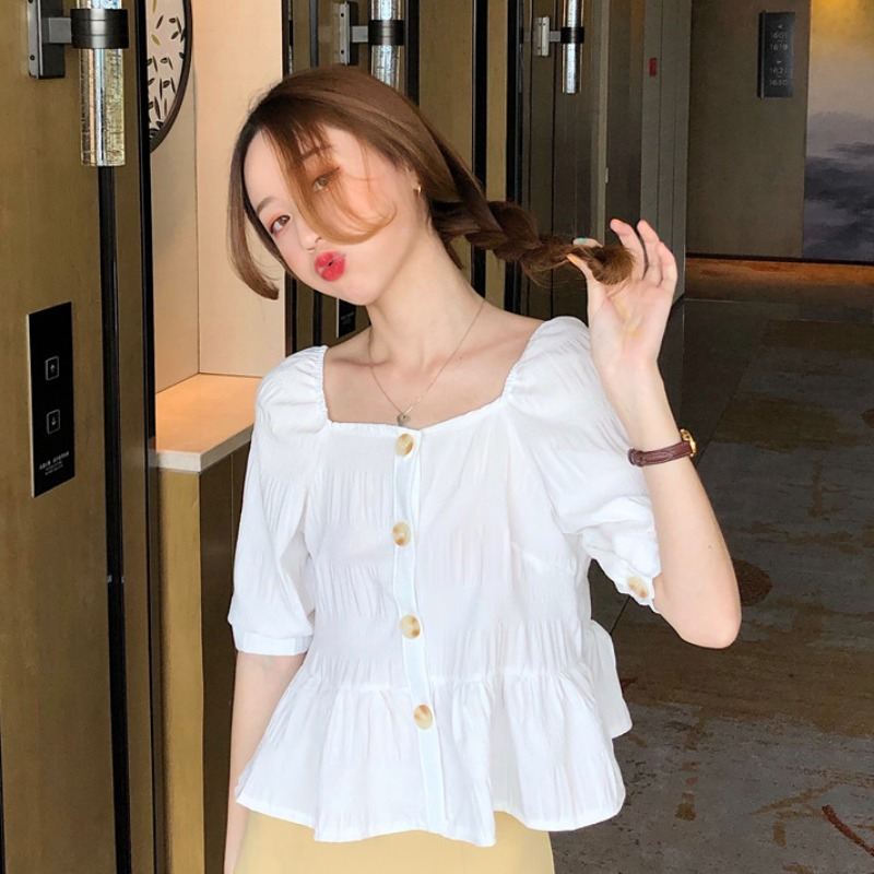 Design sense small square collar womens shirt summer new French short sleeve white shirt ins Ruffle Top