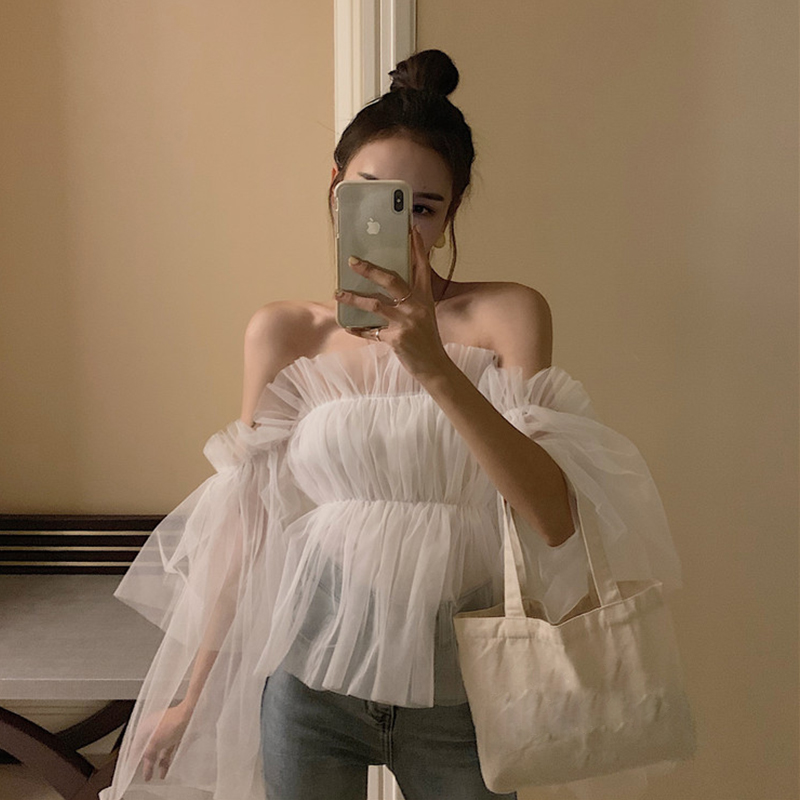 Fairy blouse womens new style in spring and summer 2020, one word collar, off shoulder, trumpet sleeve, short mesh shirt