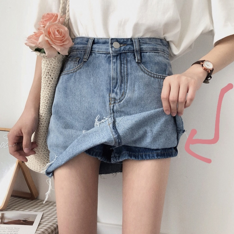 Womens spring dress Korean version shows thin and versatile high waist half skirt students walking proof raw edge jeans skirt