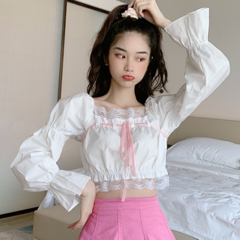 Spring 2020 new super fairy lace side collar long sleeve short sweet shirt womens design sense top