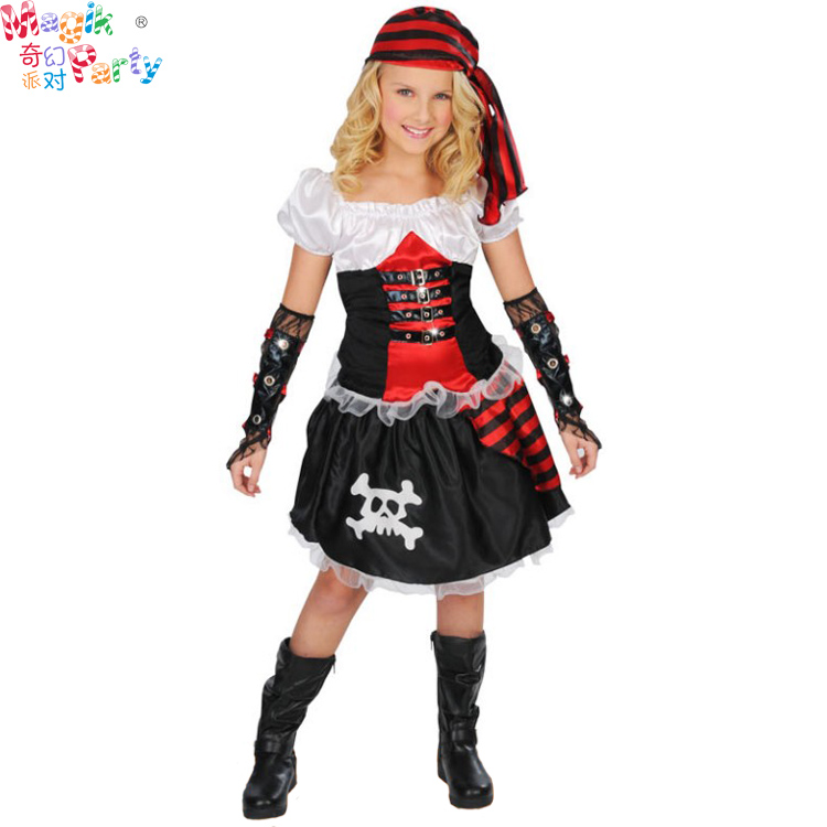 Childrens costumes for Halloween Cosplay girls costume for pirates of the Caribbean Captain Jack