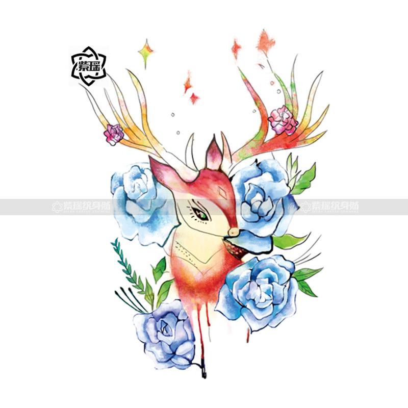 紫瑶纹身贴 梅花鹿蓝色玫瑰影楼拍摄 彩色小鹿防水持久贴纸少女心