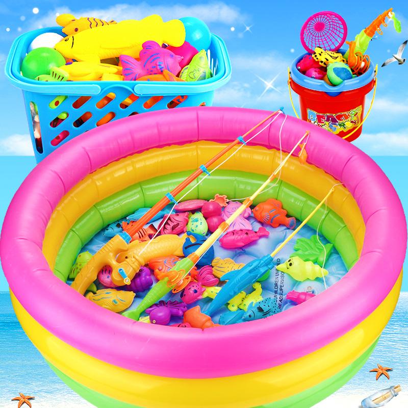 儿童钓鱼玩具铁磁性竿男女孩幼小宝宝亲子戏水池套装3-6周岁2益智