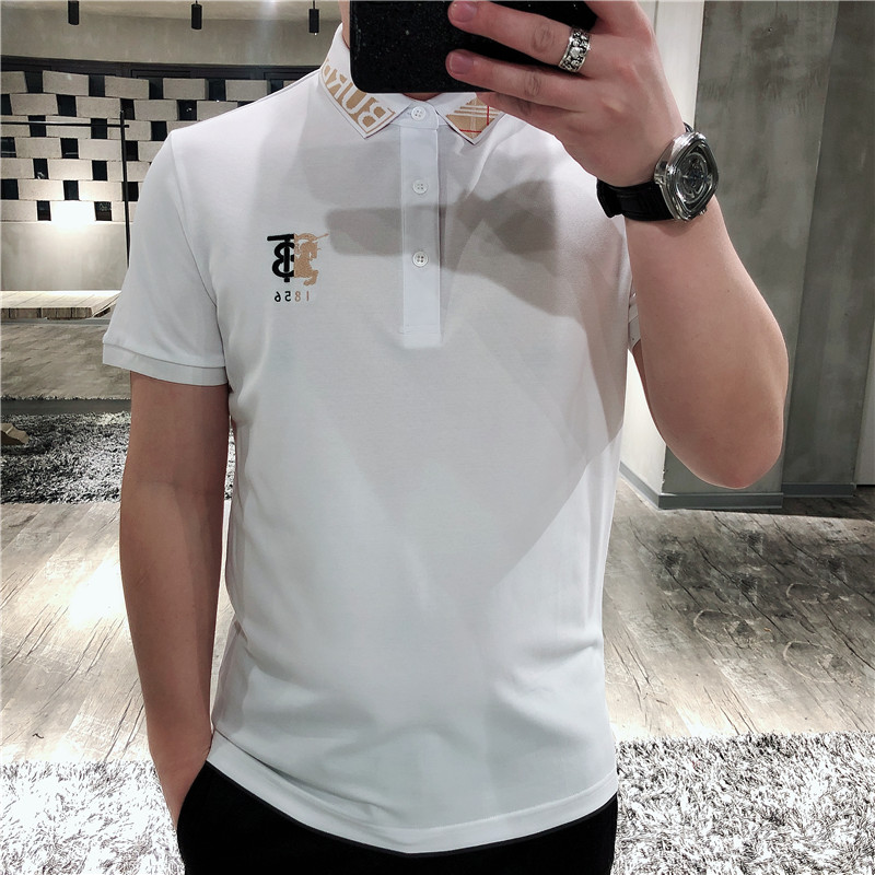 2020 summer European station fashion Polo embroidery light luxury pearl cotton polo shirt mens short sleeve fashion brand slim trend