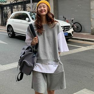 夏季閨蜜很仙的套裝女2020韓版洋氣運動休閒時尚早春兩件套姐妹裝