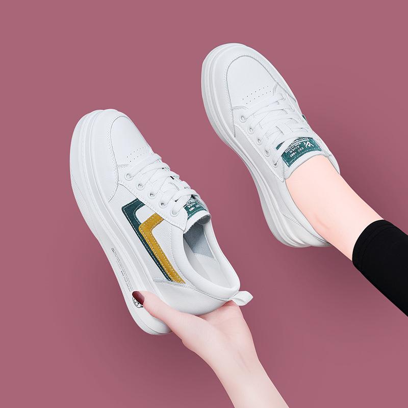 真皮女鞋2020春夏女式休闲板鞋运动鞋松糕底今年流行的小白鞋波鞋