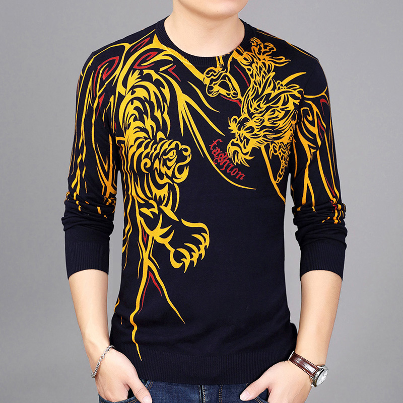 Mens sweater spring and autumn thin fashion 2017 new sweater tiger dragon pattern printed T-shirt V-neck T-shirt