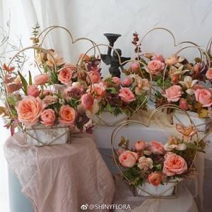 花艺心形爱心铁艺金属花架鲜花假花干花手提花篮插花用品篮子