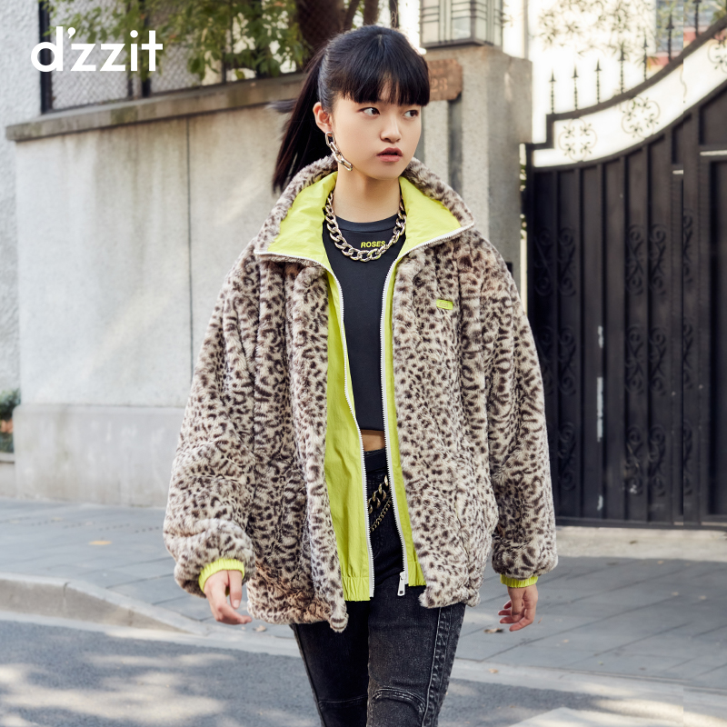 dzzit 2020 winter counters new casual stitching faux fur leopard print jacket female 3C4F4426N
