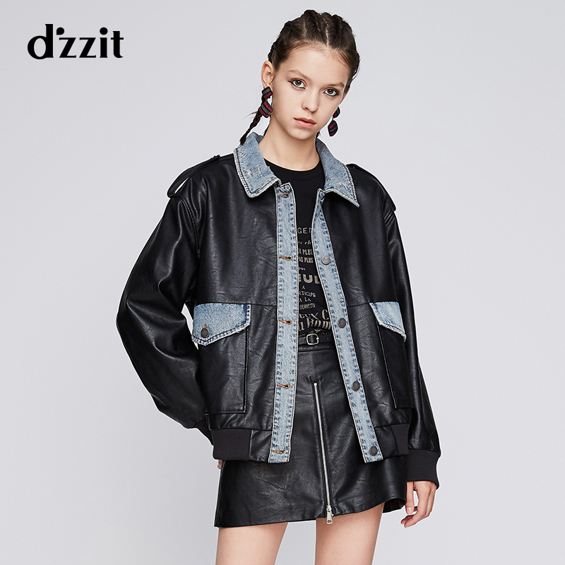 Dzzit Disu autumn 2019 special counter new handsome personality denim splicing leather imitation women 3g3f414