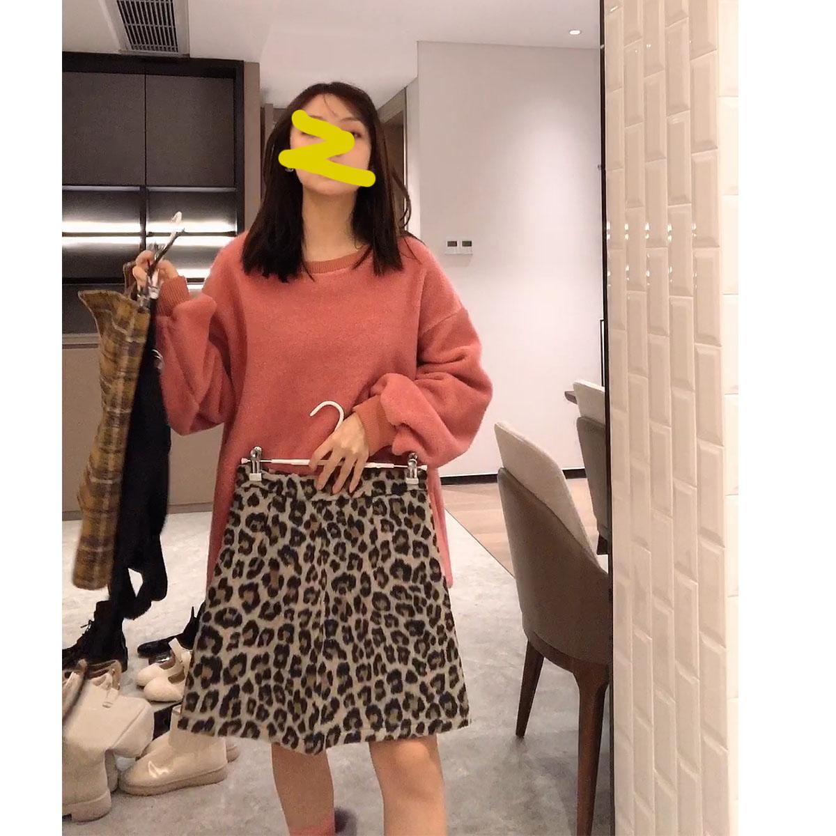 豹纹半身裙女秋冬季复古高腰a字短裙性感气质显瘦包臀一步裙