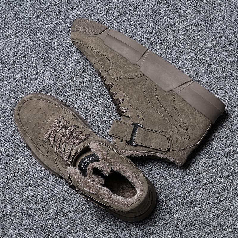 冬季新款马丁靴男英伦风高帮潮流板鞋韩版增高加绒加厚棉鞋雪地靴