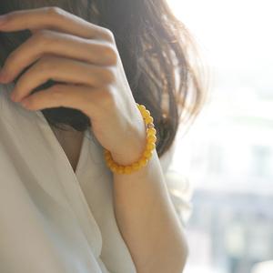 乌克兰鸡油黄蜜蜡手串7mm琥珀14k金圆珠手链天然简约气质珠宝饰品