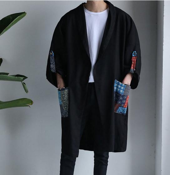 Chinese Style Mens Retro cotton hemp windbreaker mens middle and long kimono mens Hanfu mens loose cardigan coat fashion